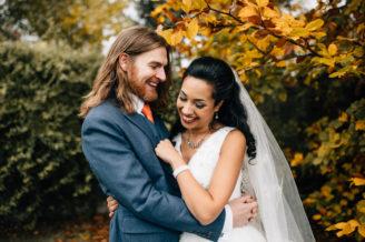 fun wedding photographs autumn wedding london with dogs
