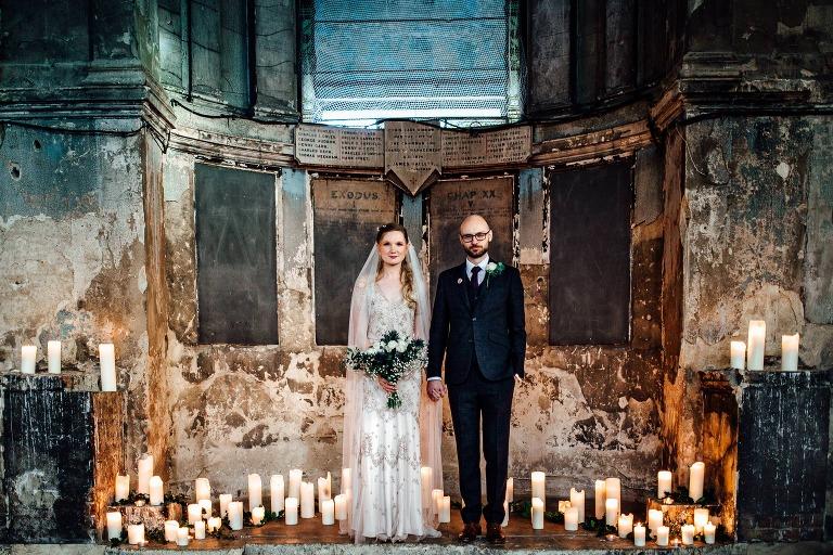 COUPLE PORTRAITS BRIDE GROOM AT THE ASYLUM LONDON WEDDING PHOTOGRAPHY