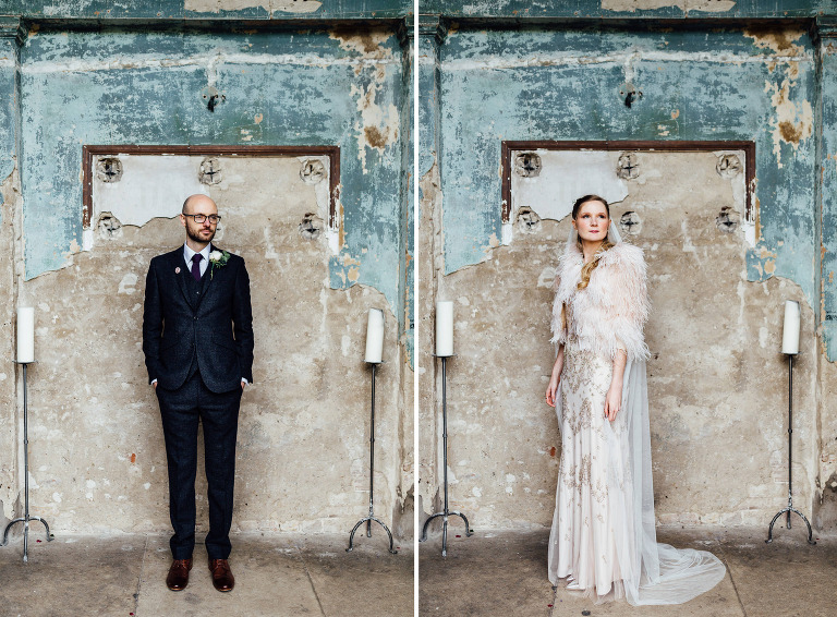 COUPLE PORTRAITS BRIDE GROOM AT THE ASYLUM LONDON WEDDING PHOTOGRAPHY JENNY PACKHAM CLASSIC GOWN